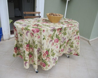 Pink cream pastel floral cotton large SQUARE Rectangle OVAL ROUND tablecloth picnic cloth - Shabby chic home decor-outdoor table decoration