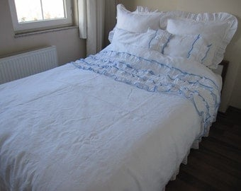 Anthropologie bedding White blue washed LINEN queen duvet cover ruffled beach bedding - shabby cottage chic cotton lace trimmed