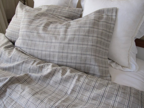 Blue Brown Grey Gray Plaid Linen Full Double Queen Duvet Cover