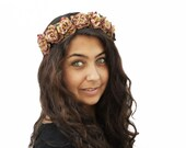 Gold Rose Crown. Gold Flower Crown, Gold, Autumn Rose, Vintage Inspired, Rose Flower Crown, Floral Crown,  Boho Chic