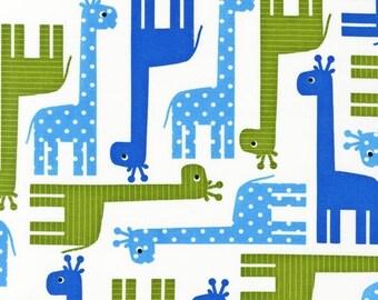 "1 Yard 3.5"" of Urban Zoologie Blue Giraffes by Ann Kelle for Robert Kaufman LAST PIECE"