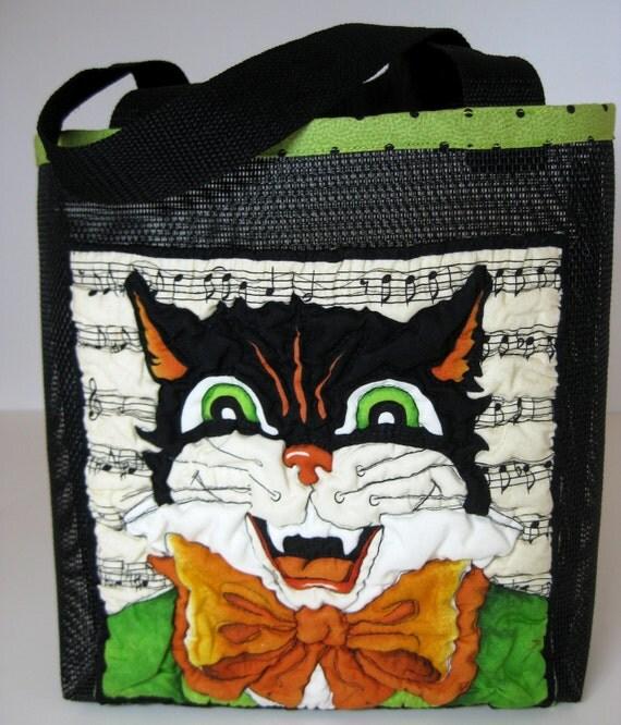 Halloween Candy Basket Bucket Bin Black Cat Trick or Treat Mesh Tote
