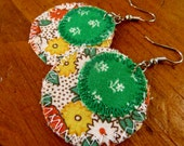 SALE! ALTERED COUTURE Featured Upcycled Earrings, Vintage Garden - Handmade, recycled, one-of-a-kind