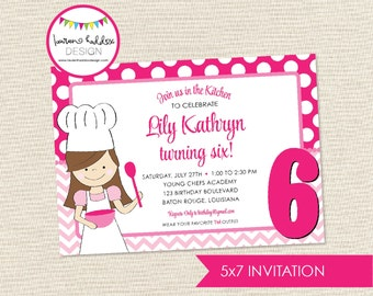 Cooking Birthday Invitation, Baking Cooking Birthday, Pink Cooking Printables, Cooking Birthday Decorations, Lauren Haddox Designs