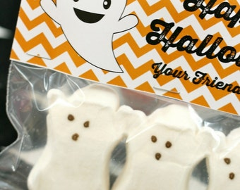 INSTANT DOWNLOAD, DIY, Happy Halloween Ghost fold over tags