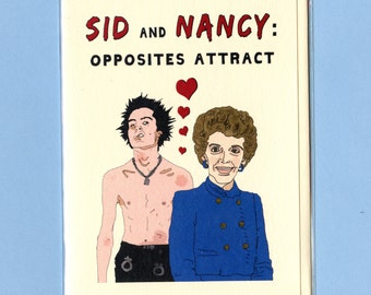 SID & NANCY REAGAN - Funny Card - Funny Card for Friend - Card - All Occasion Card - Valentine Card - Sex Pistols - Original Art - Item M111