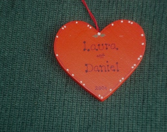 Personalized Wood Christmas Ornament - Heart