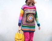 retro boho sweater, colorful rainbow women crochet pullover, chromatic granny square