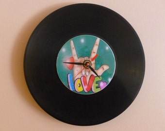 Love Recycled Vinyl Record/ CD Clock Wall Art