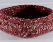 Fiber Art Basket - felted wool - maroon, grey and silver. Handmade