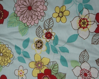 Beautiful Mum Flowers on Blue Cotton Lycra