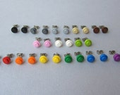 BRICK Stud Earring Multiple Colors Mix and Match 3 Pairs