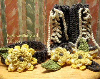 Buggs - Crochet Headband and Lace Up Booties w/ Detachable Three Tier Flower Accent