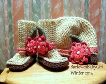 Buggs -  Crochet Baby Booties and Hat w/ Detachable Mixed Pinks Three Tier Flower w/ Leaf