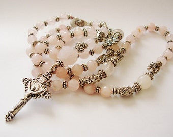 Catholic Rosary 5 decade, Prayer Beads,Rosary Necklace, Catholic Gift, Rose quartz