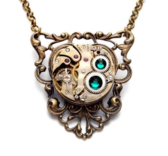 GORGEOUS MAY Steampunk Necklace, EMERALD Steampunk Watch Necklace May Birthstone Steam Punk Victorian Steampunk Jewelry VictorianCuriosities
