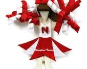 Customizable Cheerleader Hair Clip, Pin, or Christmas Tree Ornament