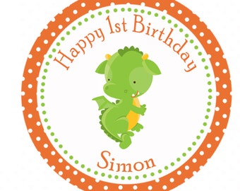 Green Dragon 1st Birthday Thank You Tags - Orange Polka Dot Birthday Tags Birthday Favors Party Favors Birthday Custom Party Items Printable