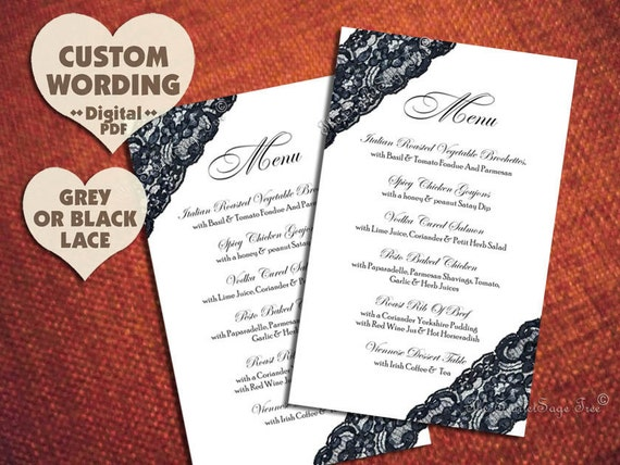 BLACK LACE Menu Custom Design Modern Diy Printable Wedding Table Decoration Set Decor country Rustic Classic Chic High Fashion Party Elegant