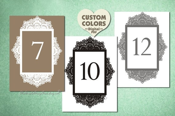 PRINTABLE Table Number Custom Color LACE Diy Wedding Decor Decoration Setting Seating Sign Template Country Rustic Vintage Idea Online Cheap