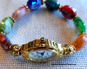 Beaded Stretch Watch Band Multi Colored Faceted Agate
