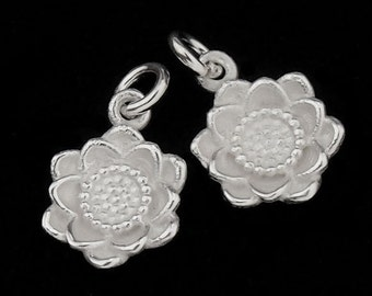 2 of 925 Sterling Silver Flower Charms 10mm. Tiny Charms. :th1913