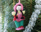 RESERVE LISTING ONLY for Lesmarsh1 Vintage Handmade Crochet Miniature Doll Girl with Pigtails Christmas Ornament