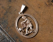 Vintage sterling silver 925 charm.  Astrological Zodiac sign Aquarius