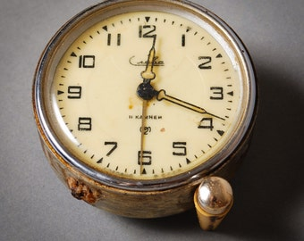 Vintage small mechanical alarm clock SLAVA