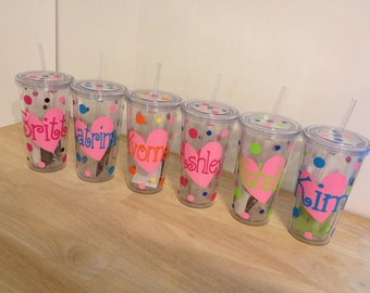 Quantity 5 Personalized w/name acrylic tumbler w/lid - polka dots, Available in skinny, standard, sport bottle, mason, kiddie cup & XL cup