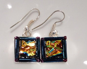 Bling Earrings in gold, teal, copper and rainbow