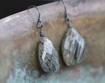 Rutilated Quartz Oxidized Black Sterling Silver Earrings Drops