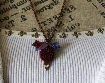 Necklace Mum Cameo with colored leaf Pendant Necklace with choic of Flower color and Long Chain