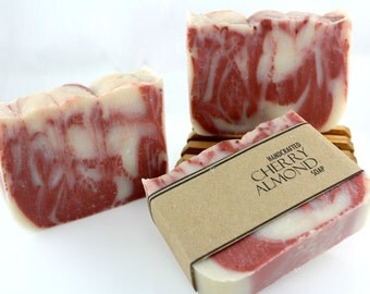 Cherry Almond Soap, Vegan Friendly, Handmade, Cold Process Soap, Kaolin Clay
