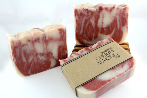 Cherry Almond Soap, Vegan Friendly, Handmade, Cold Process Soap, Kaolin Clay