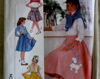 Uncut Simplicity 7269 Girls 7 8 9 10 Sewing Pattern 50s Poodle Skirt Western yoke and Dirndl