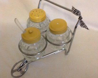 Vintage Salt & Pepper, Condiment set with Caddy