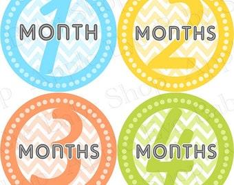 Baby Month Milestone FREE Month Baby Sticker Baby Month Milestone Stickers Baby Boy Bodysuit Stickers Photo Prop Blue Chevron Yellow