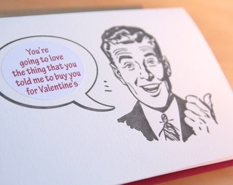 Valentine's Day Retro Guy Mad Men letterpress sticker card - blood red envelope, charcoal black ink, choose from 10 messages sticker