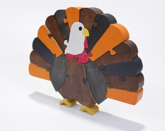 Thanksgiving Decor and Puzzle of Turkey