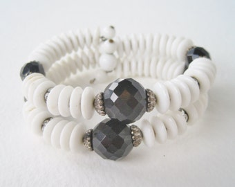 SALE 10 PERCENT OFF Vintage Double Strand White Milk Glass Onyx Black Clear Rhinestone Beaded Wrap Memory Wire Coil Cuff Bracelet