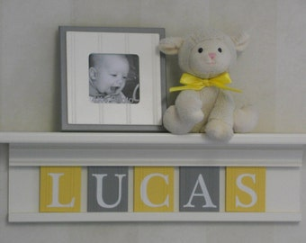 Yellow and Gray Nursery Wall Art Baby Boy Nursery Decor - Personalized White or (Off White) Wood Shelf with Wooden Wall Letters