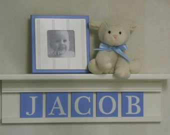 Personalized Decor Boy, Baby Boy Nursery Wall Shelves - White or (Off White) Shelf Pastel Light Blue Name Letter - Personalized for Nursery