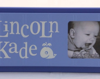 Whale Under The Sea Nursery Art- BLUE Nursery Nautical Decor- Personalized Baby Nursery Picture Frames- Decor Photo Frame Custom Order Gifts