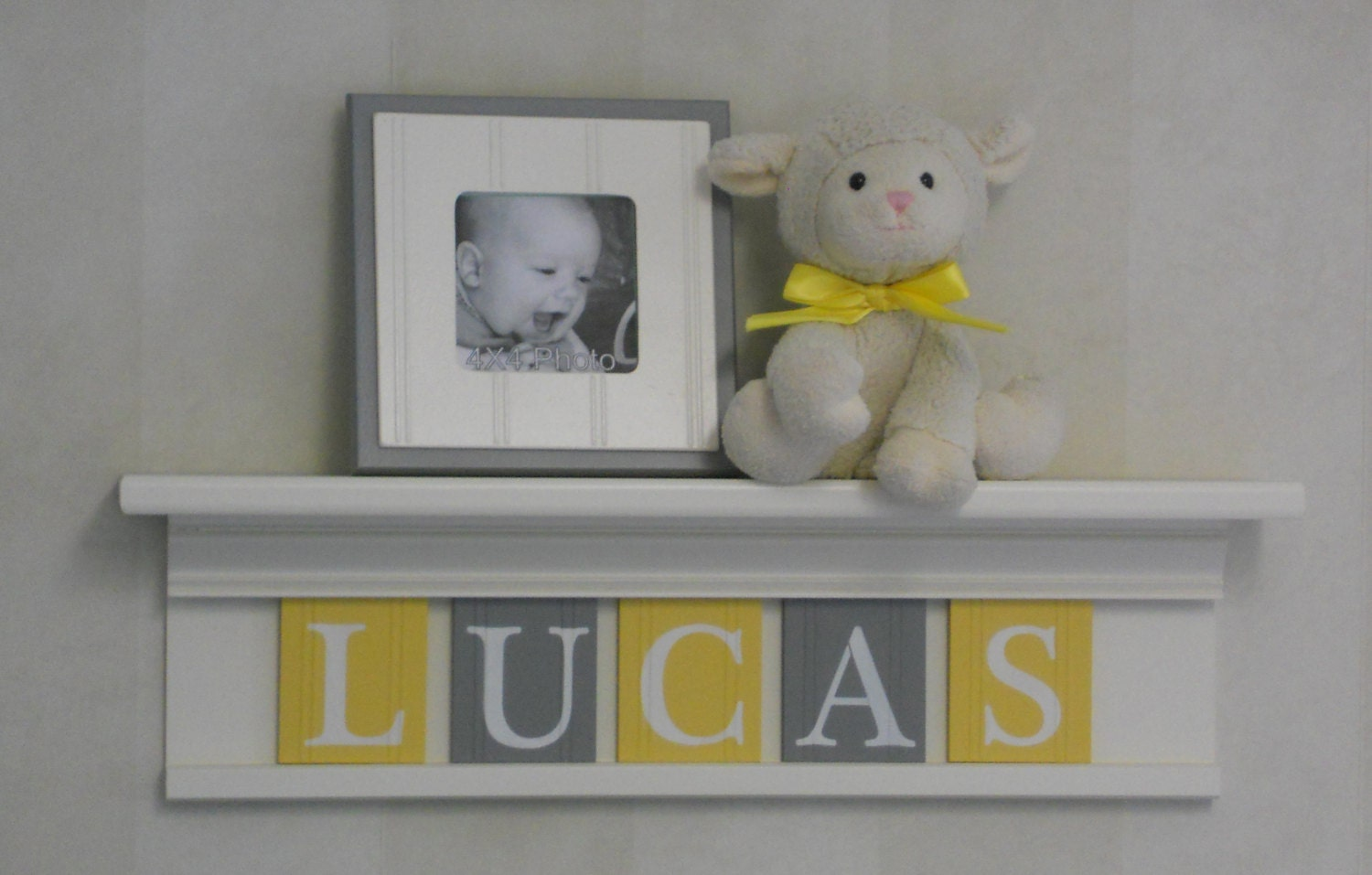 Yellow and gray nursery wall art baby boy nursery decor for Baby room decoration letters