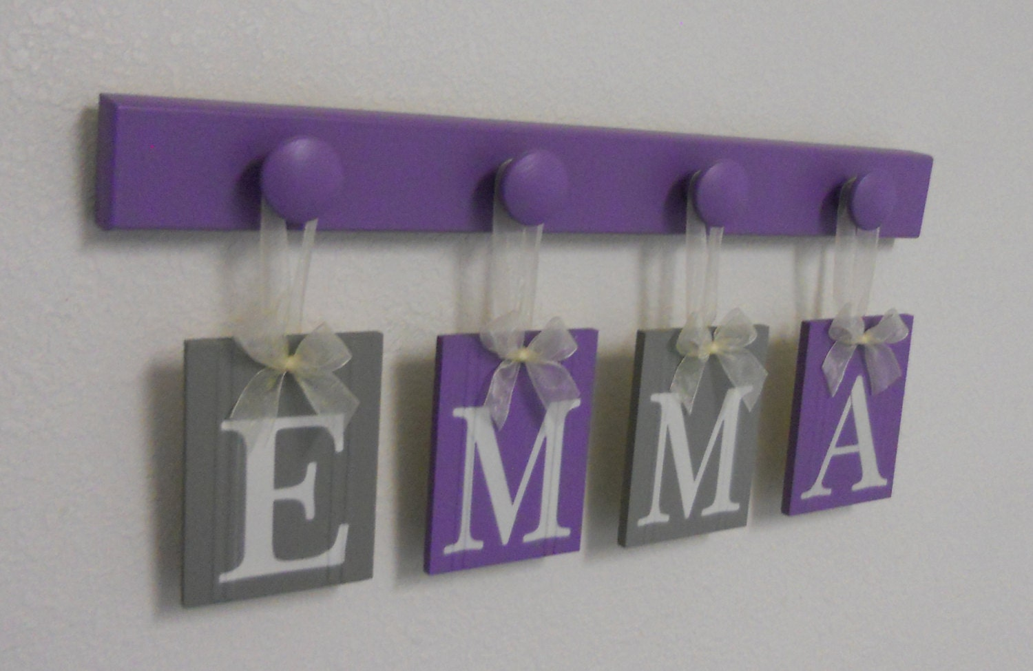 Name sign baby girl name purple gray name wood hooks zoom negle Images
