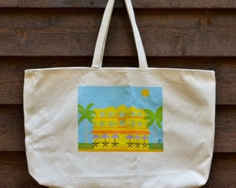 Cotton Canvas Beach Tote Bag with Original Artwork by Jeff Schilling