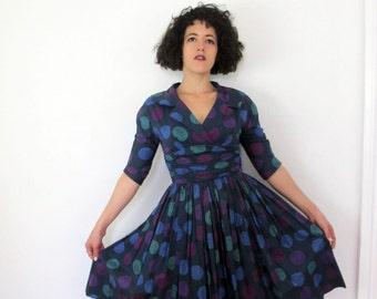 50's Vintage Candy Jones Print Party Dress sm.