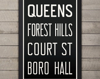 QUEENS (FOREST HILLS) New York City Subway Sign. Bus Scroll. 12 x 18 Rollsign Print
