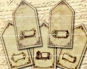 Antique Price Tags Sepia with Dollar Signs and Blank Printable Vintage Old Fashioned Shabby Chic Jewelry Shop Labels Collage Sheet 467